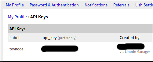 Linode API Key
